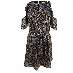 Metallic Print Stars Struck Baring Shoulder Dress